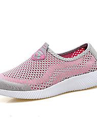 Femme Chaussures d'Athlétisme Confort Tulle Eté Décontracté Marche Confort Combinaison Talon Plat Rose Noir/blanc 5 à 7 cm