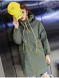 Women's Going out Casual/Daily Active Fall Trench Coat,Letter Hooded Long Sleeve Long Cotton