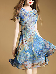 Women's Going out Street chic Slim Thin A Line Chiffon Dress Print Stand Above Knee Short Sleeve Polyester Blue Summer