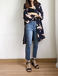 Feminino Casaco Casual Moda de Rua Primavera Outono,Estampado Longo Fibra Sintética Others Lapela Xale Manga Longa Taxas