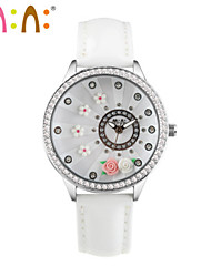 Women's Fashion Watch Japanese Quartz / Leather Band Casual White Pink Fuchsia White