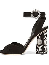 Damen-Sandalen-Kleid Lässig Party & Festivität-Vlies-Blockabsatz-Club-Schuhe-