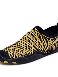 Для мужчин Спортивная обувь Дышащая спортивная обувь Для плавания Светодиодные подошвы Ткань Весна Лето На плоской подошвеЗолотой Черный