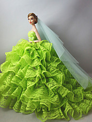 Wedding Dresses in Light Green For Barbie Doll For Girl's Doll Toy