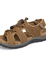 Для мужчин Сандалии Светодиодные подошвы Кожа Лето Повседневные Дышащая спортивная обувь На эластичной ленте На плоской подошве