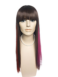Very Long Capless Wig Long Straight Black With Neat Bangs Anime Cosplay Wig Fashion Wig
