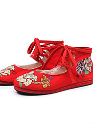 Women's Flats Spring Embroidered Shoes Fabric Casual Lace-up