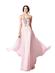 A-Line Sweetheart Floor Length Chiffon Formal Evening Dress with Beading