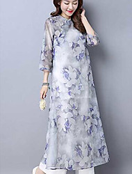 Women's Going out Loose Dress,Floral Round Neck Maxi Long Sleeve Polyester Spring Summer Mid Rise Micro-elastic Thin