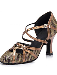 Women's Modern Dance Shoes Pointed Closed Toe Latin Ballroom Salsa Dancing Shoes Lace-up Dancewear Brown