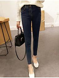 Damen Hohe Hüfthöhe Jeans Skinny Hose einfarbig