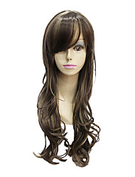 The orange hair is long womens wigs for gril and the hair is curly party wigs for ladies