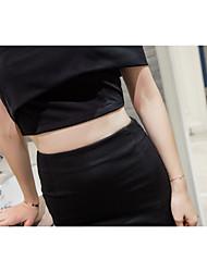 Manches Ajustées Jupe Costumes Femme,Couleur Pleine Décontracté / Quotidien Sexy simple Manche Courtes Epaules Dénudées
