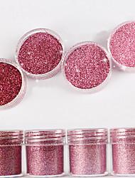 10ml Laser Pink Shimmer Diamond Bright Powder Mix With Sequins Nail Gradient Laser Powder  Nail Art Decoration For Nail Polish
