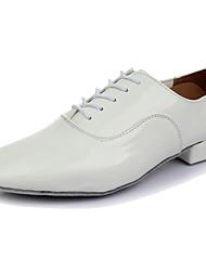 Customizable Men's Dance Shoes Leather Latin Heels Low Heel Performance