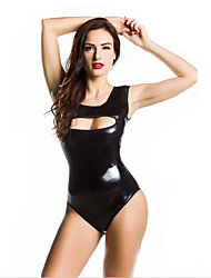 Women's Sleeveless Hollow Out Wet Look Faux Leather Playsuit Romper Erotic Bodysuit