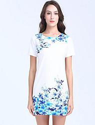 Moulante Robe Femme Décontracté / Quotidien Travail Chinoiserie Sophistiqué,Fleur Col Arrondi Mini Manches Courtes Polyester EtéTaille