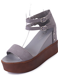 Mujer Sandalias Confort Cachemira Verano Casual Paseo Confort Remache Tacón Plano Negro Gris 7'5 - 9'5 cms