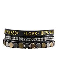 Fashion Women Trendy Thin 1 Row Stud Rhinestone Set Letter Wrap Leather Bracelet