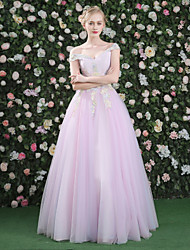 Ball Gown Princess Bateau Neck Floor Length Lace Satin Tulle Formal Evening Dress with Beading Embroidery Lace Bandage by QZ