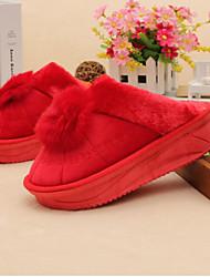 Damen-Slippers & Flip-Flops-Lässig-SchafspelzKomfort-Schwarz Fuchsia Rot