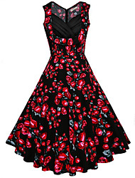 Women's Going out Holiday Vintage Swing Dress,Floral V Neck Midi Sleeveless Cotton Summer Mid Rise Inelastic Medium