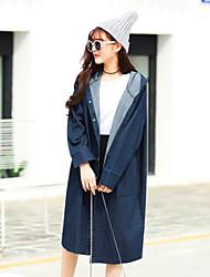 Veste en jean Femme,Couleur Pleine Décontracté / Quotidien Vintage Printemps Col Carré Long Coton taille grande