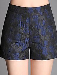 Women's High Rise Micro-elastic Shorts Pants,Simple Wide Leg Sequins Jacquard Print