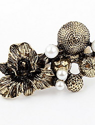 Korean Style Fashion Copper Flower  Mushroom  Pearl Double Cuff Rings