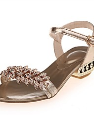 Women's Sandals Comfort PU Summer Dress Casual Party & Evening Rhinestone Chunky Heel Chocolate Gold Silver 1in-1 3/4in