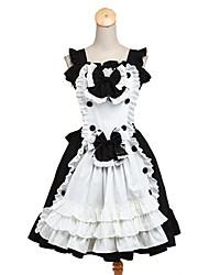 Ternos de Empregadas Doce Rococo Cosplay Vestidos Lolita Cor Única Sem Manga Longuete Vestido Avental Para Tecido Alcochoado