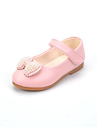 Girls' Oxfords Spring Summer Comfort Flower Girl Shoes PU Party & Evening Dress Casual Flat Heel Imitation Pearl Magic Tape