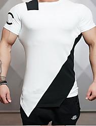 Tee-shirt Homme,Géométrique Décontracté / Quotidien simple Manches Courtes Col Arrondi Cuirs Particuliers