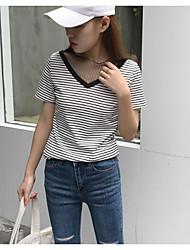 Damen Gestreift Einfach Lässig/Alltäglich T-shirt,V-Ausschnitt Kurzarm Polyester