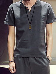 5 colors  M-5XL Hot Sale Men's Casual/Daily Simple Summer T-shirtSolid Round Neck Short Sleeve Cotton