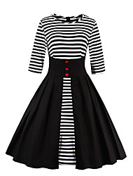 Women's Party Vintage Swing Dress,Striped Round Neck Knee-length ½ Length Sleeve Cotton Polyester All Seasons Mid Rise Micro-elastic