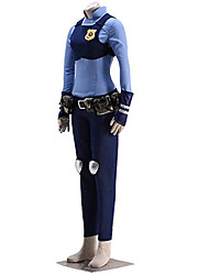 Inspired by Zoo Rabbit Judy CostumeAnime Cosplay Costumes Cosplay Suits Print Blue Shirt / Breastplate / Pants / Gloves / Belt / Kneepad / Bag