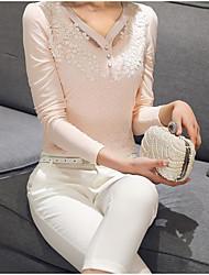 Damen Solide Sexy Arbeit T-shirt,V-Ausschnitt Langarm Baumwolle