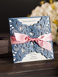 Blue Hollow Laser Cutting Wedding Party Invitations Card With Ribbon Bow and Envelope Bridal Engagement Invitations NK511