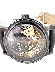 Men's Fashion Watch Mechanical Watch Chinese Quartz Leather Band Black