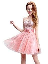 A-Line Strapless Short / Mini Tulle Cocktail Party Dress with Bow(s) Crystal Detailing