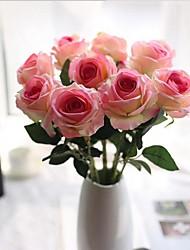 10 Heads Silk Roses Tabletop Flower Artificial Flowers