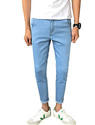 Homme simple Taille Normale Micro-élastique Jeans Pantalon,Mince Couleur Pleine Motif Animal