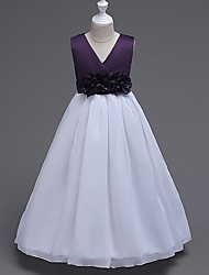 Ball Gown Tea-length Flower Girl Dress - Chiffon Satin V-neck with Bow(s) Flower(s) Sash / Ribbon