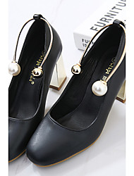 Damen-High Heels-Kleid-PU-Blockabsatz-Club-Schuhe-