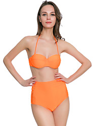 Bikinis Aux femmes Coupé Licou Nylon Spandex