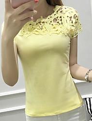 Damen Solide Sexy Lässig/Alltäglich T-shirt,Rundhalsausschnitt Kurzarm Baumwolle