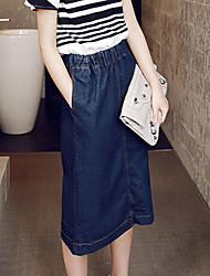 Femme Taille Haute Midi Jupes,Crochet Toile de jean Couleur Pleine