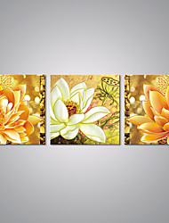 Stretched Canvas Prints Golden Flower Painting Lotus Picture Print Contemporary Art for Livingroom Decoration