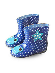 Boys' Boots Light Soles Rubber Spring Fall Outdoor Walking Rain Boots Magic Tape Low Heel Black Blue Blushing Pink Flat